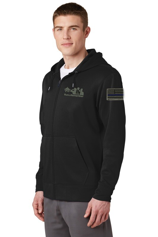 Run To Remember Blue Line Flag Sport-Wick® Fleece Full-Zip Hooded Jacket ST238