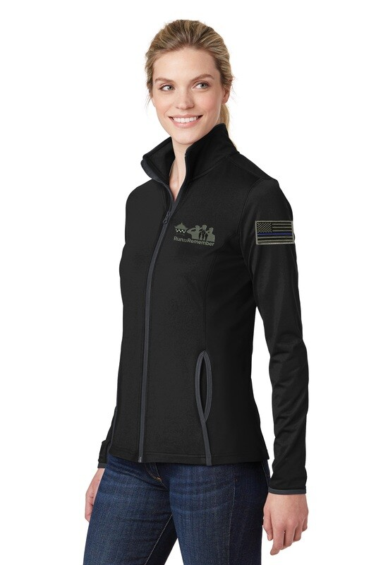Run To Remember Blue Line Flag Ladies Sport-Wick® Stretch Contrast Full-Zip Jacket LST853