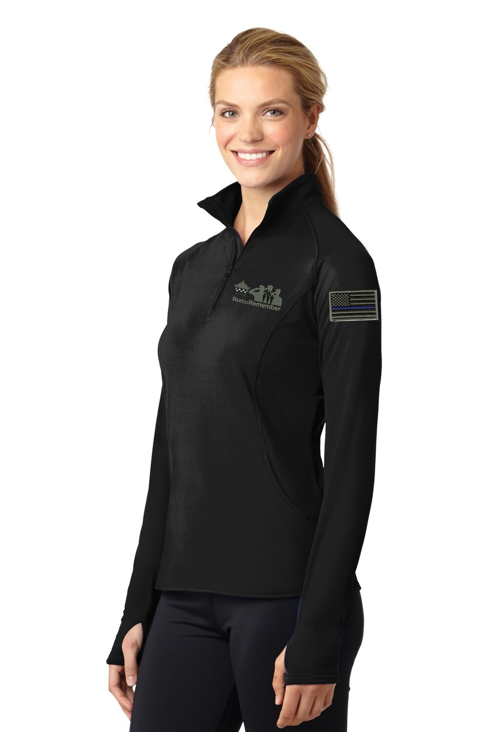 Run To Remember Blue Line Flag Ladies Sport-Wick® Stretch 1/2-Zip Pullover Black LST850