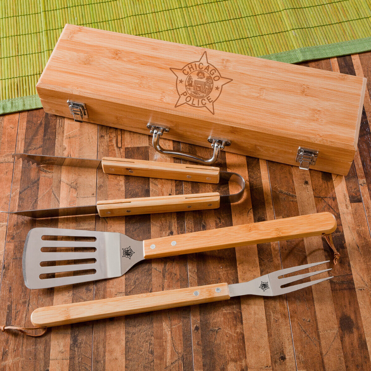 CPD Star 3-Piece Bamboo BBQ Set in Bamboo Case
