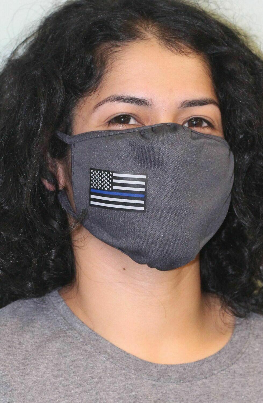 American Flag Blue Line PosiCharge Adjustable Grey Fask Mask
