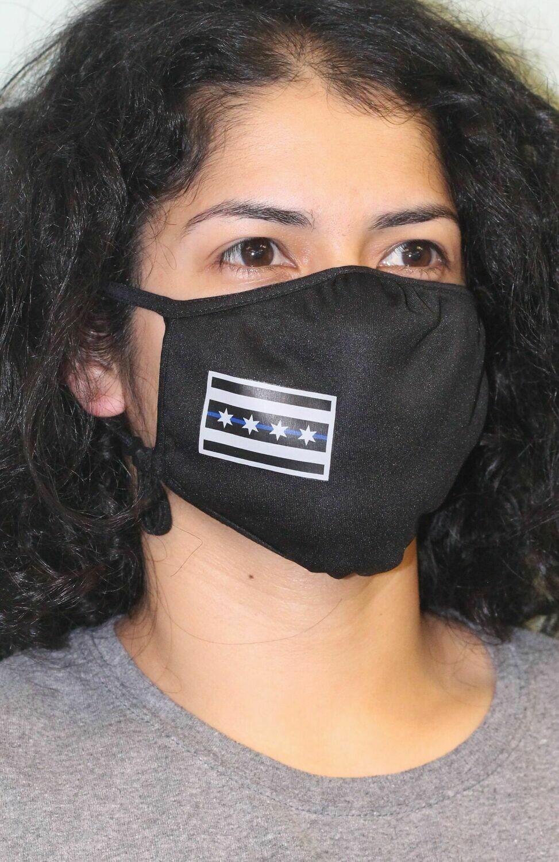 Chicago Flag Blue Line PosiCharge Adjustable Black Fask Mask