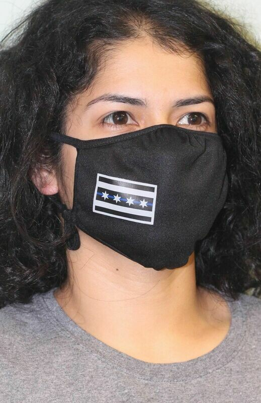 Chicago Flag Blue Line PosiCharge Adjustable Black Fask Mask
