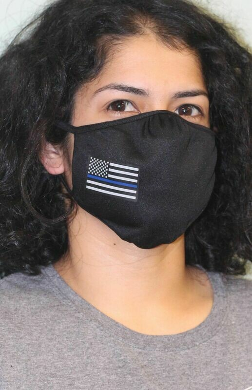 American Flag Blue Line PosiCharge Adjustable Black Fask Mask