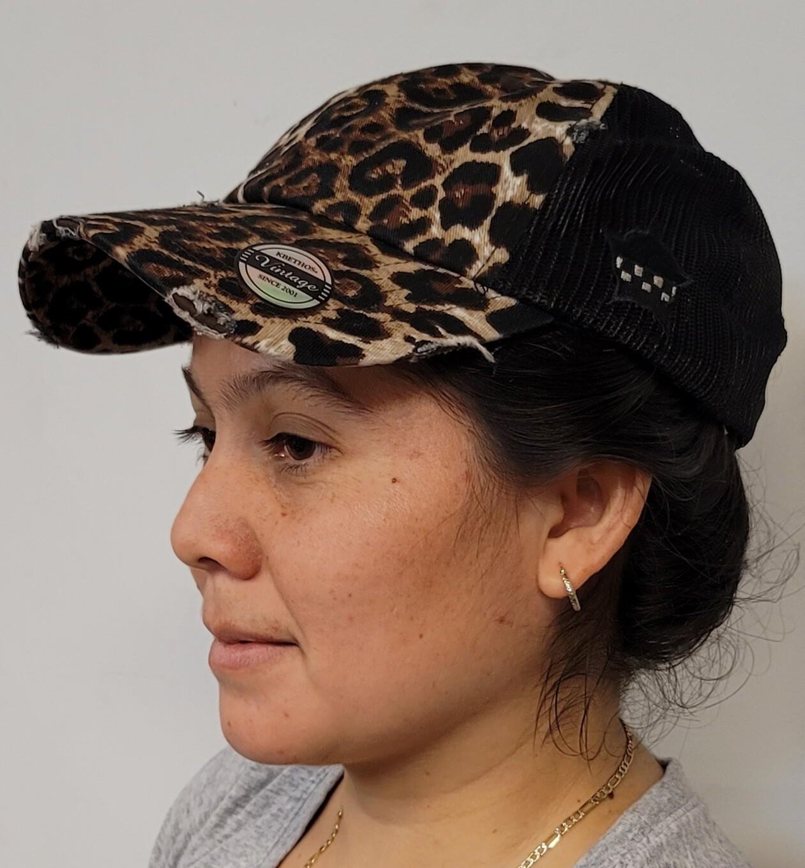 Ladies CPD Memorial Leopard Print Mesh Adjustable Strap Hat