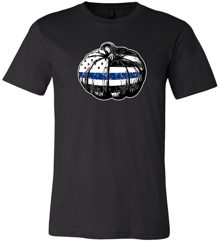 Adult Blue Line Pumpkin Halloween T-Shirt