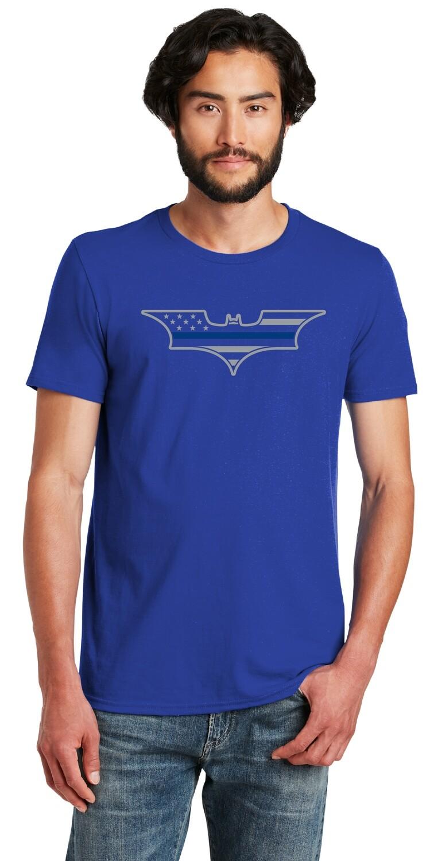 Adult Blue Line Flag Bat T-Shirt