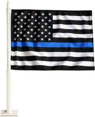 Blue Line American Flag Heavy Duty 2 Sided Car Flag