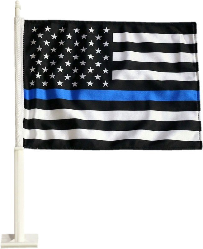 Blue Line American Flag Heavy Duty 2 Sided Car Flag