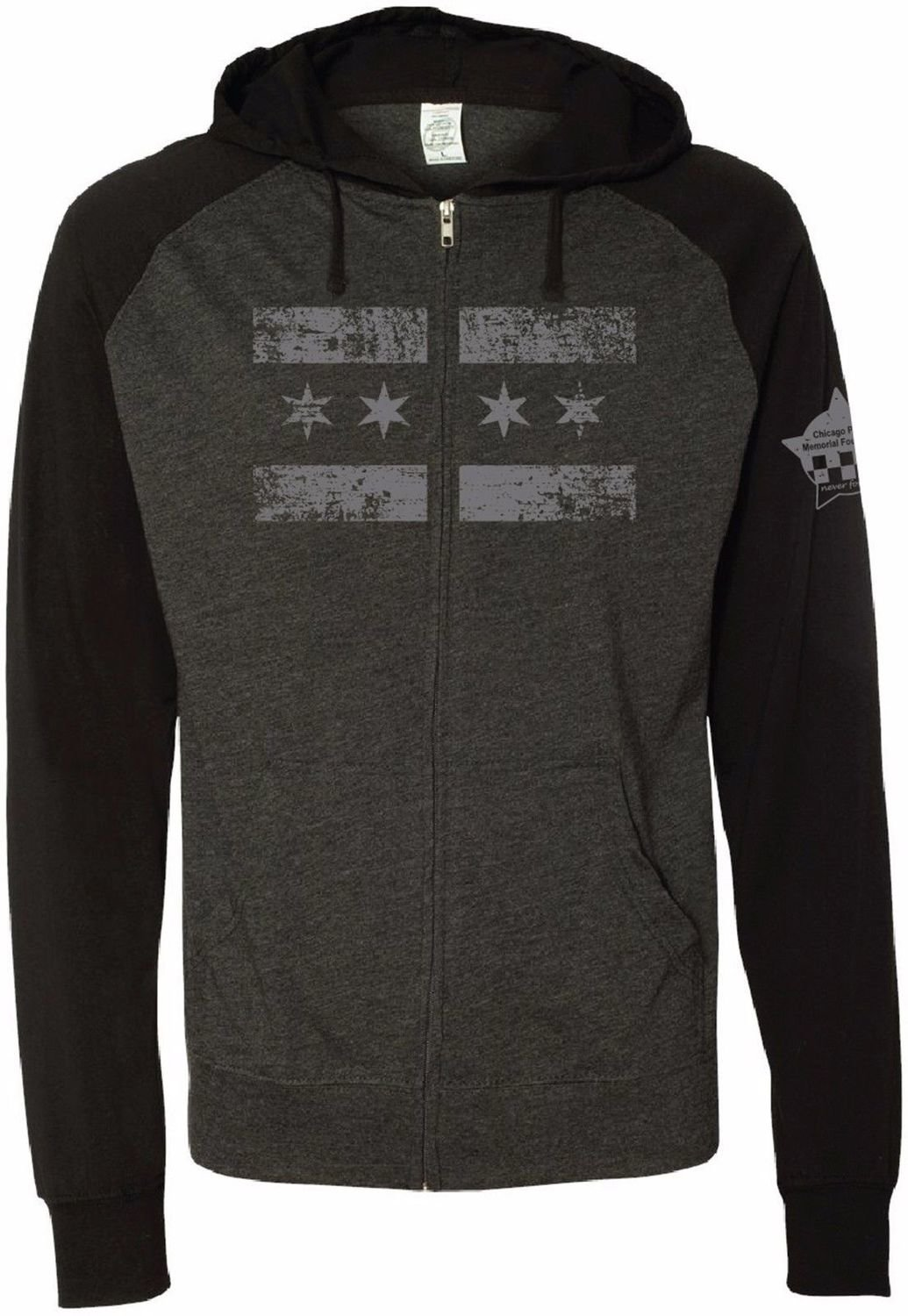 CPD Memorial Beach Hoodie Full Zip Lightweight Black/Grey Chicago Flag