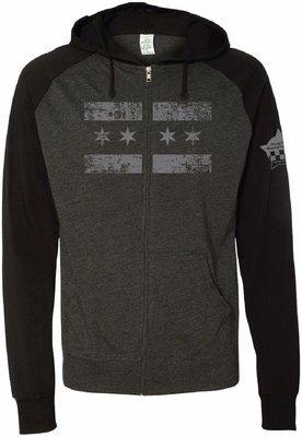 CPD Memorial Beach Hoodie Full Zip Lightweight Black/Grey Chicago Flag