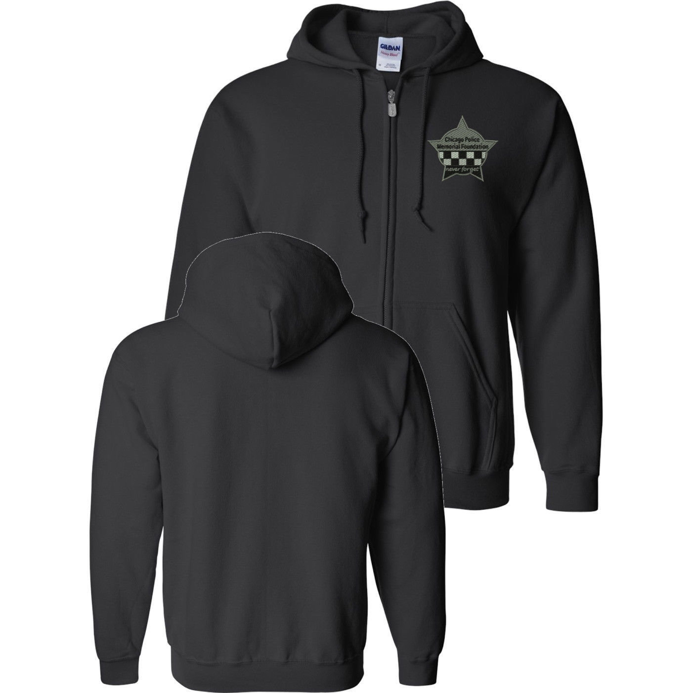 CPD Memorial Full Zip Sweat Shirt with Embroidered Star Black 16000