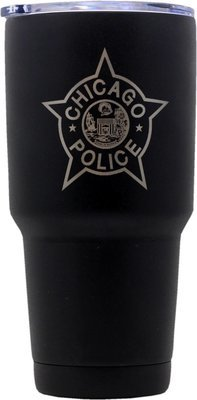 Chicago Police Star Tumbler Stainless Steel Black Coated 30oz.