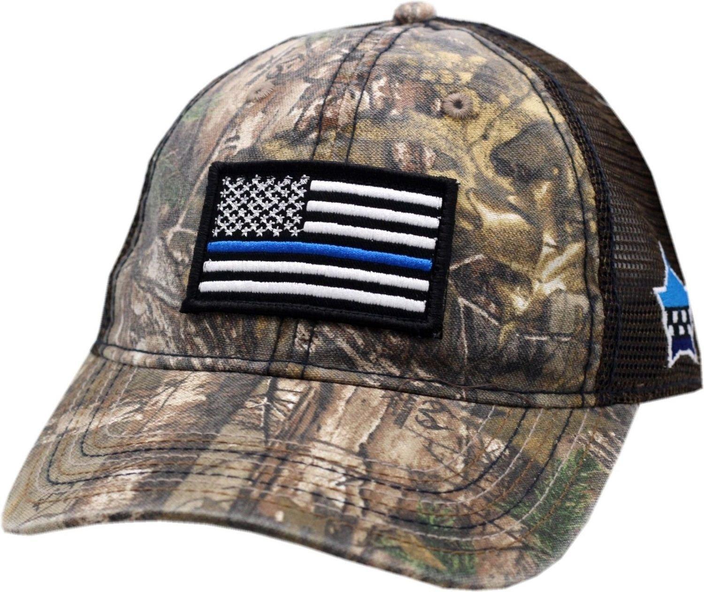 American Flag Blue Line CPD Memorial Camo Mesh Adjustable Strap Hat