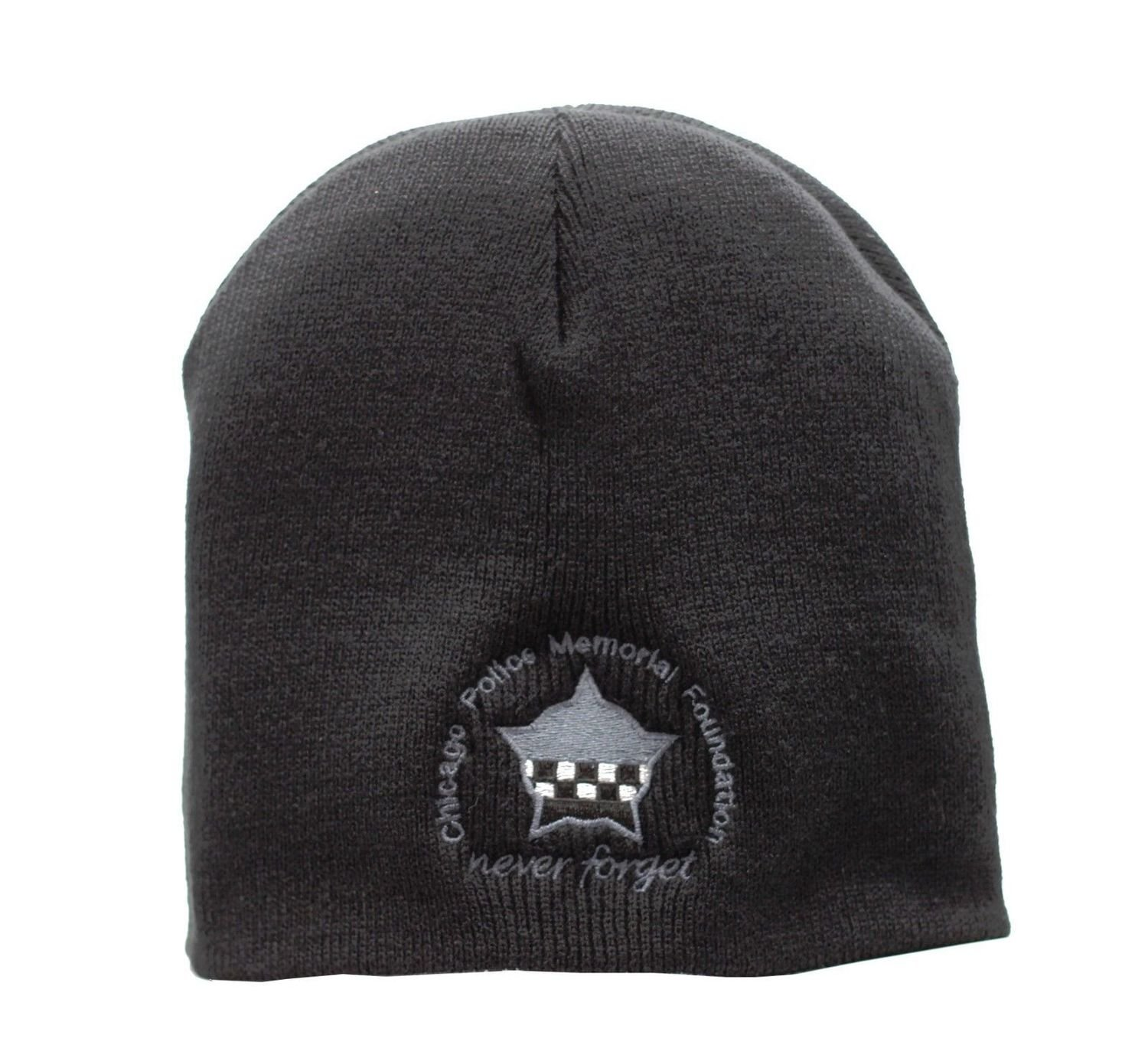 Chicago Police Memorial Sub-dued Black Skull Knit Cap