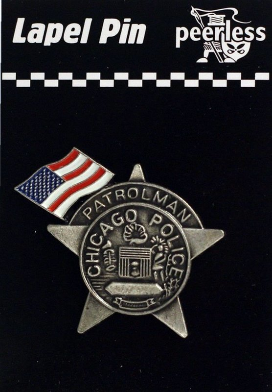 Chicago Police Patrolman with American Flag Lapel Pin
