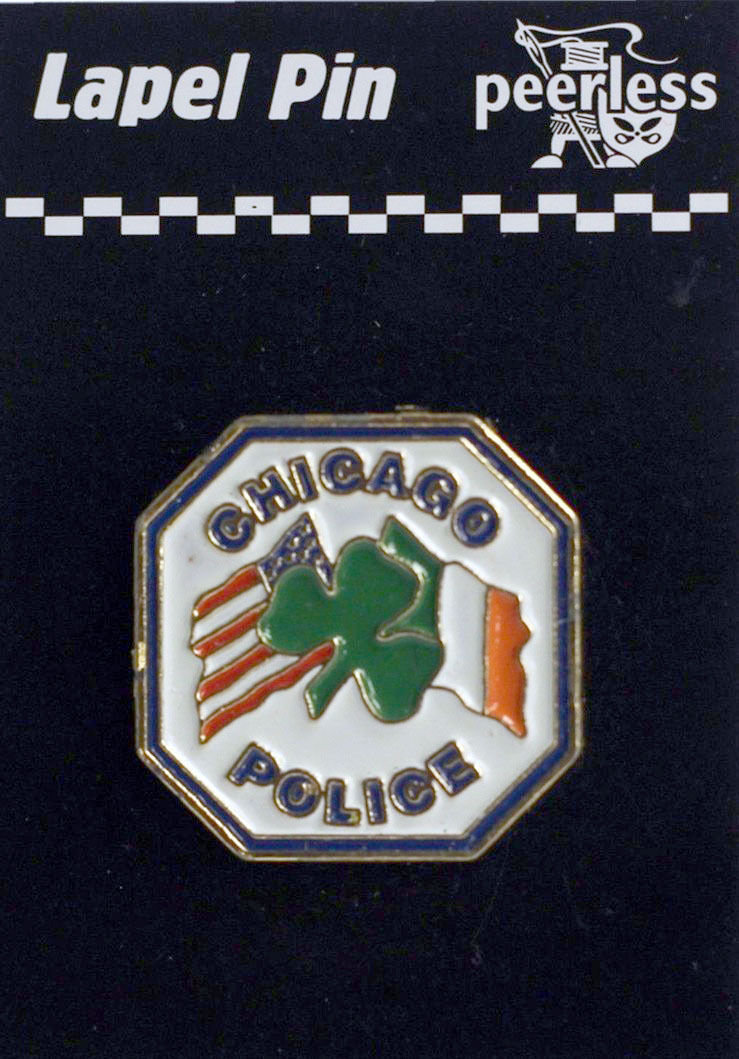 Chicago Police Dept. Irish American with Clover Lapel Pin