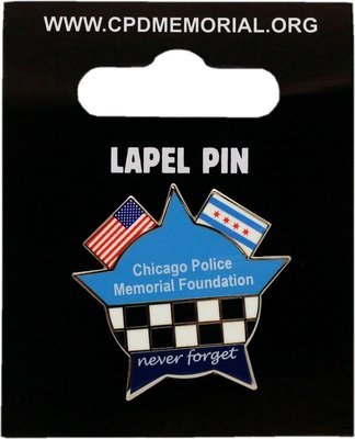 CPD Memorial Star American & Chicago Flag Lapel Pin