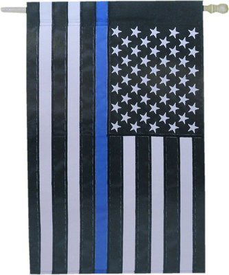 American Flag Blue Line House Flag Applique Direct Stitched 28