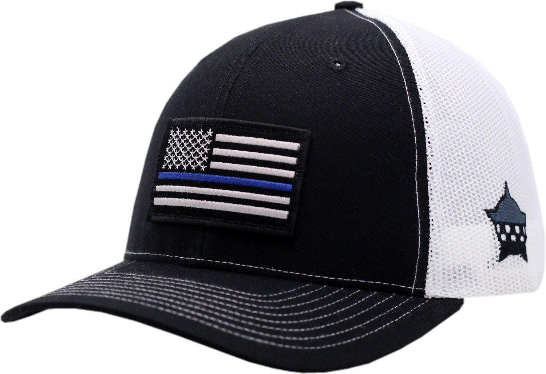 Blue Line American Flag  Snapback Trucker Mesh