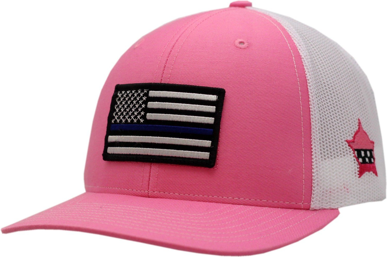 American Flag Blue Line Snapback Trucker Mesh Pink/White