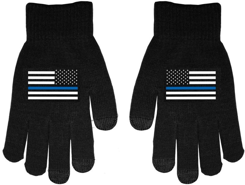 American Flag Blue Line Touch Screen Knit Gloves
