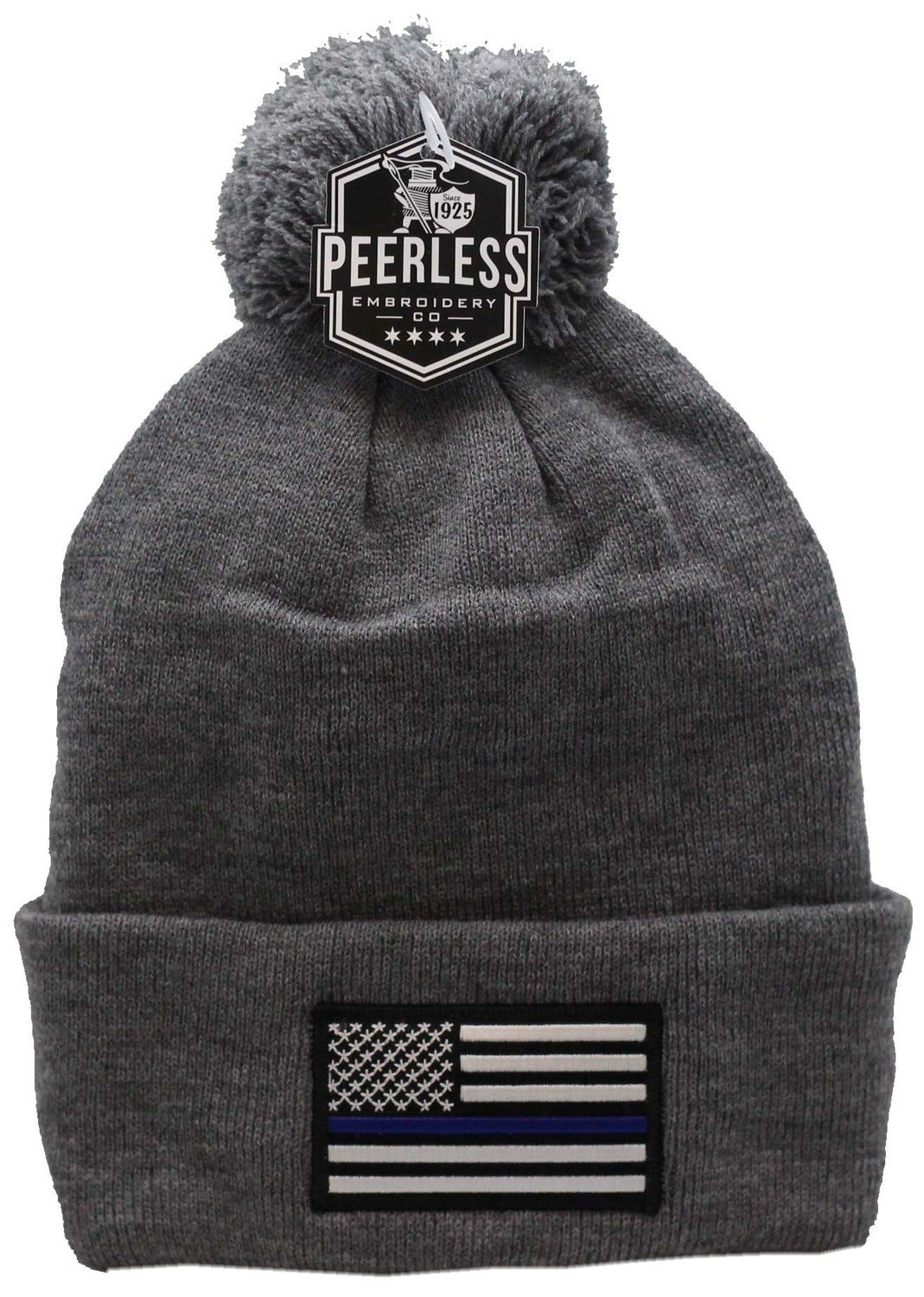 American Flag Blue Line Cuffed Pom Knit Grey