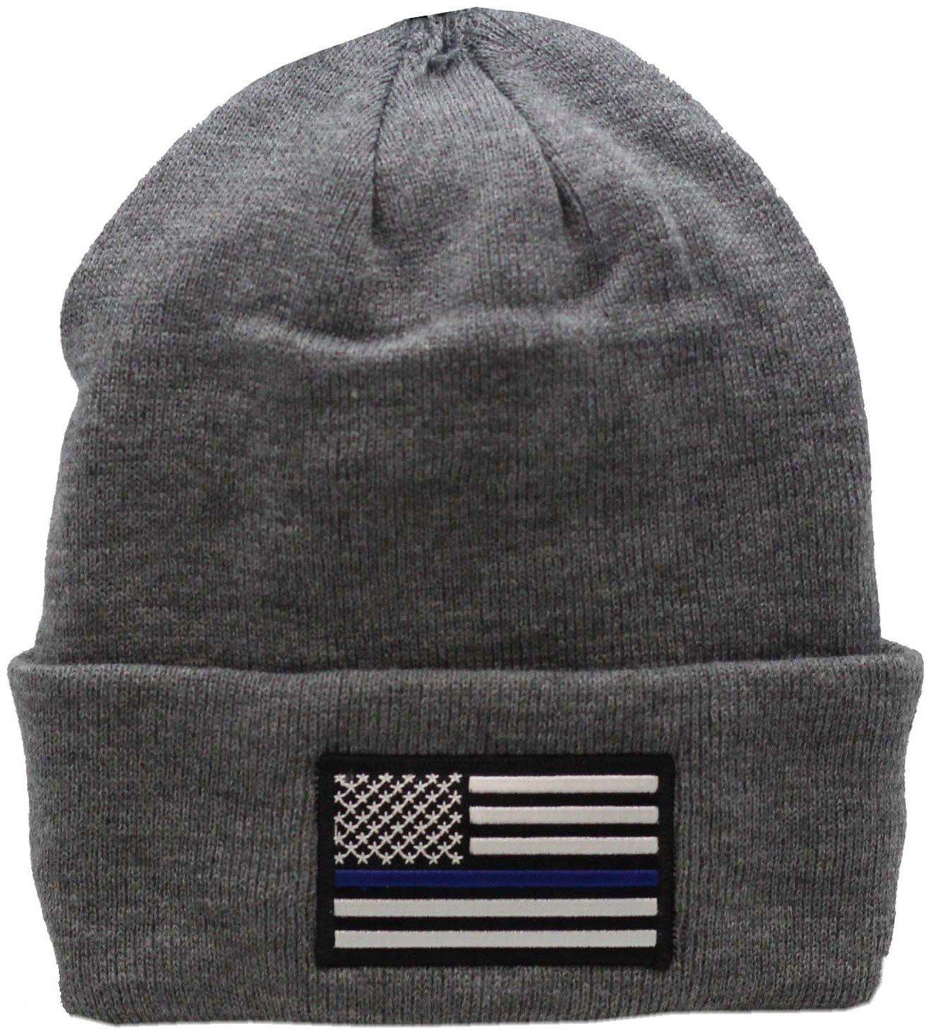 American Flag Blue Line Cuffed Knit Grey