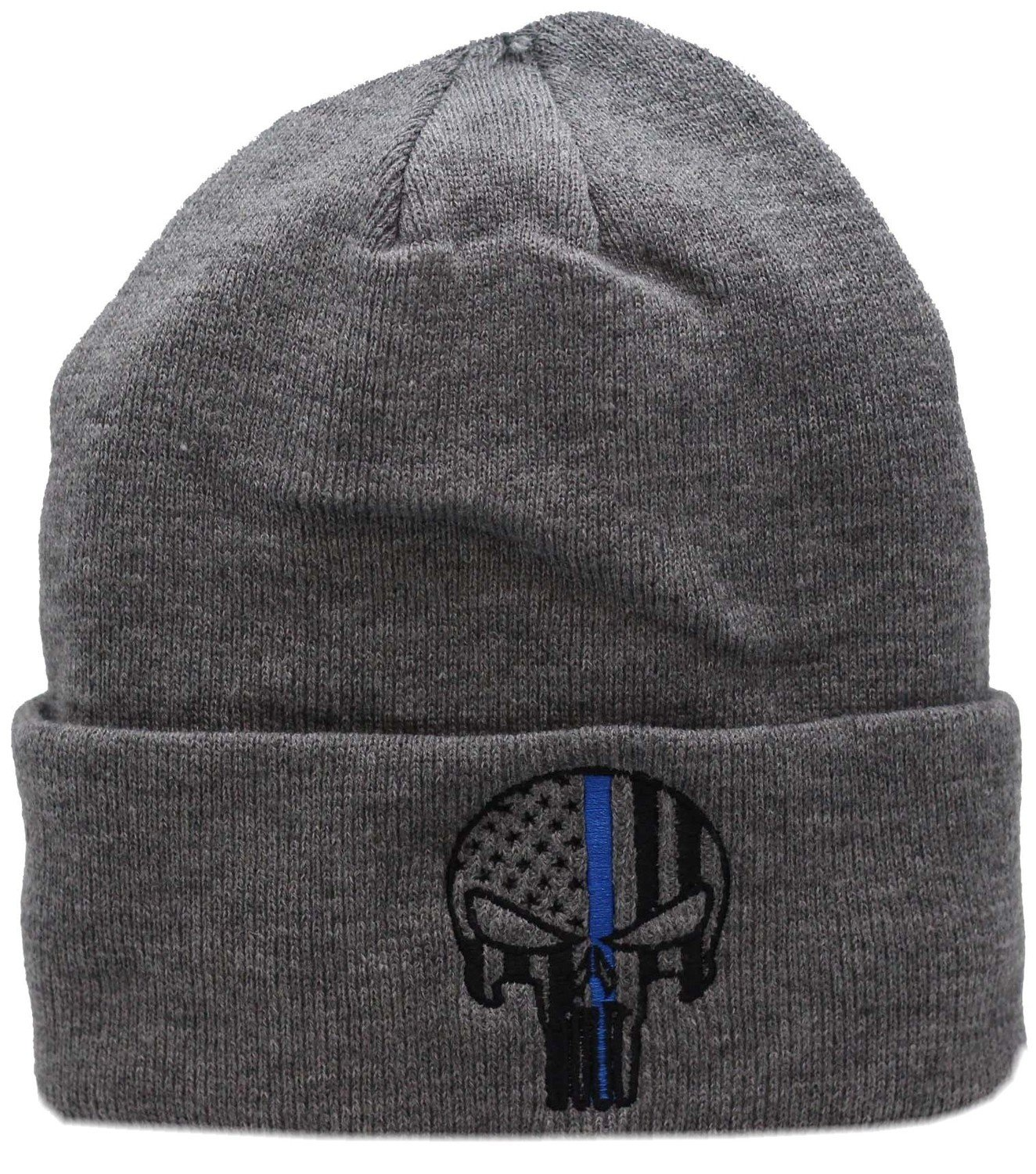 Punisher Blue Line Cuffed Knit Grey