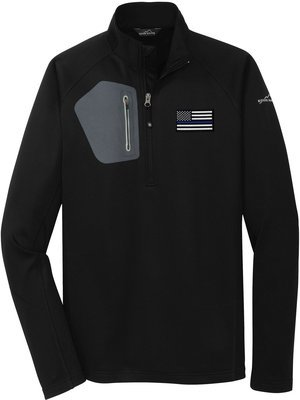 Eddie Bauer American Flag Blue Line Fleece Jacket Performance 1/2 Zip EB234