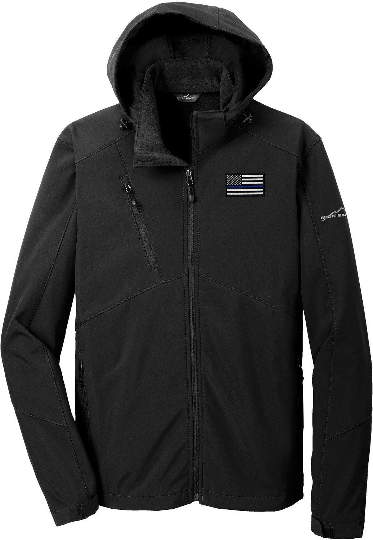 Eddie Bauer American Flag Blue Line Hooded Jacket Soft Shell Parka EB536