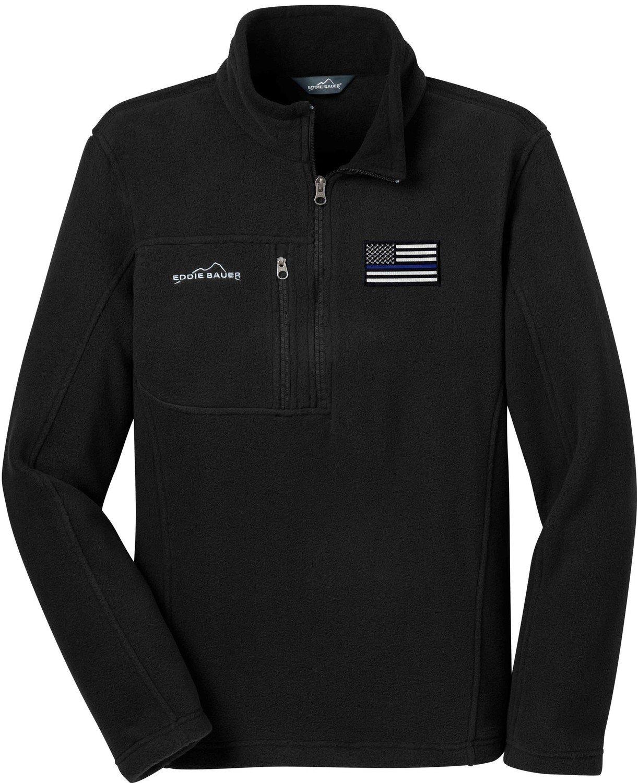 Eddie Bauer American Flag Blue Line Fleece Pullover 1/4 Zip EB202