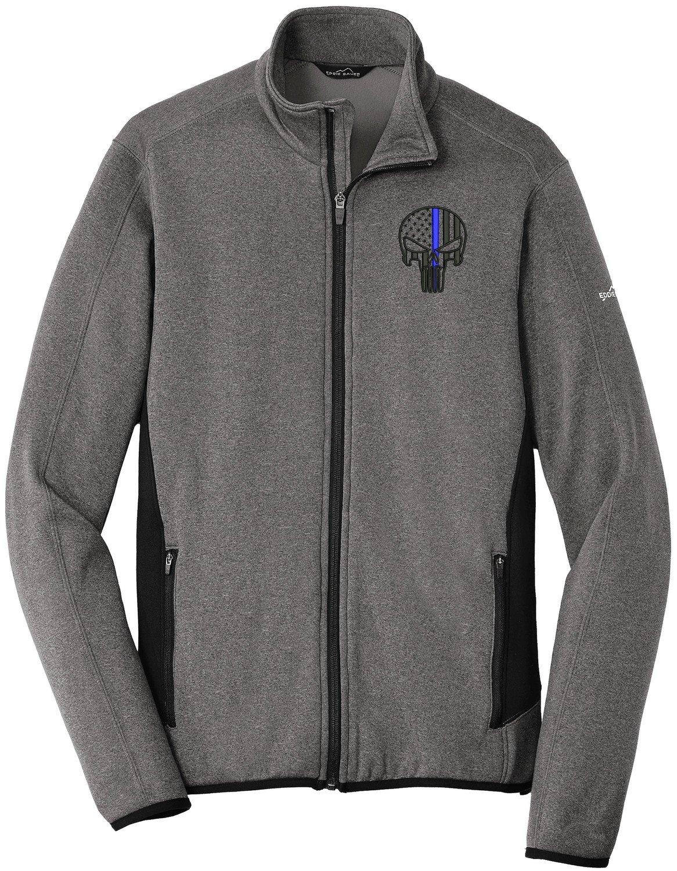 Eddie Bauer Punisher Blue Line Fleece Jacket Heather Stretch Full Zip EB238