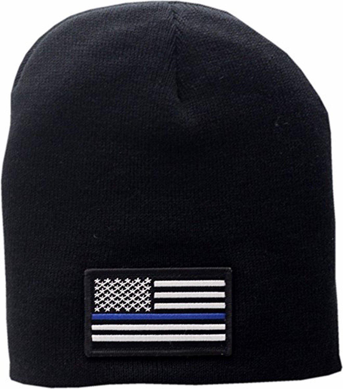 American Flag Blue Line Skull Knit