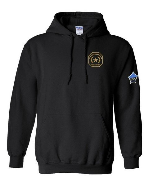 Gold Star Full Zip Sweat Shirt with Embroidered Logo Black 15000
