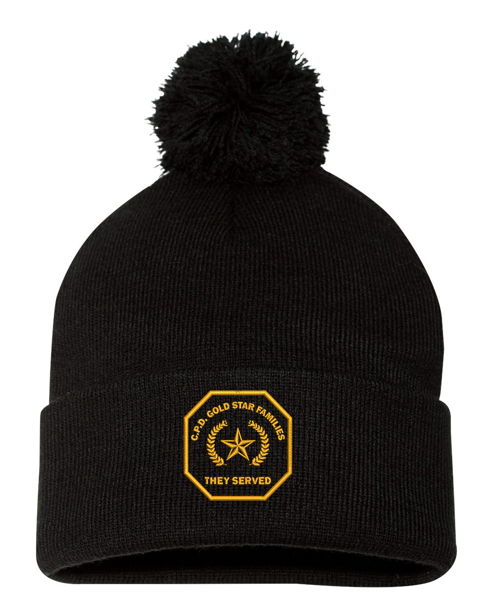 Gold Star Family Knit Cap with Pom and Cuff