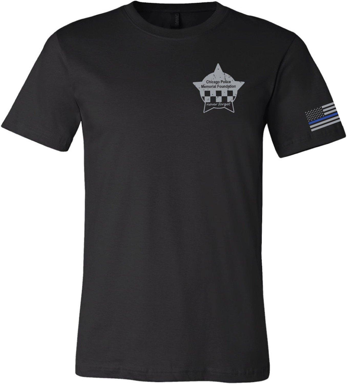 CPD Memorial Black T-Shirt Left Sleeve American Flag Blue Line
