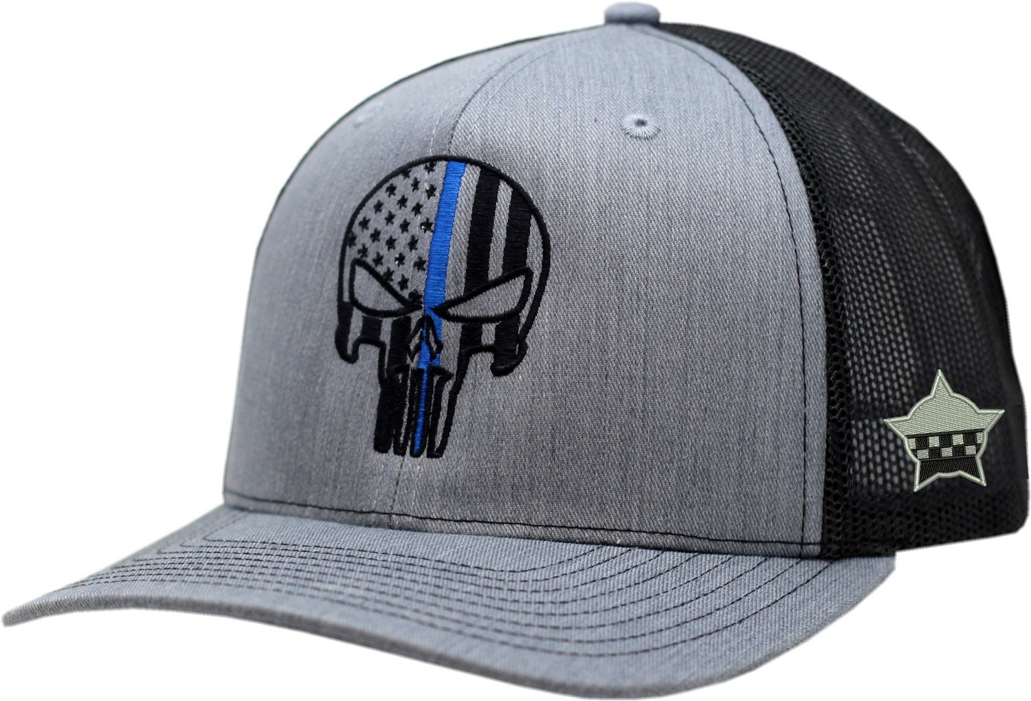 Punisher Blue Line Snapback Black/Grey