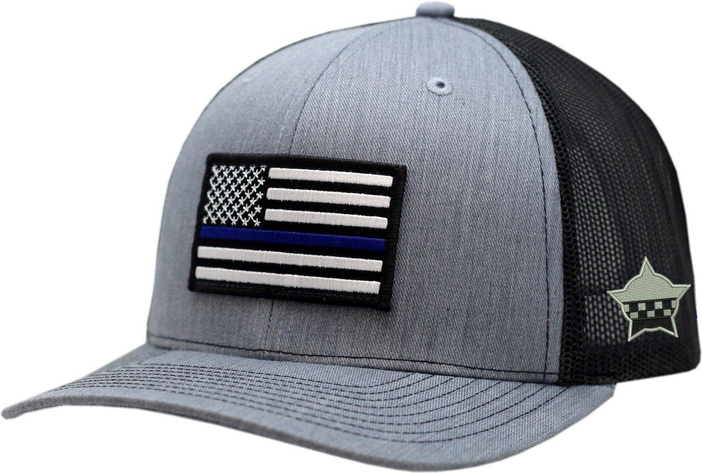 American Flag Blue Line Snapback Heather Grey/Black