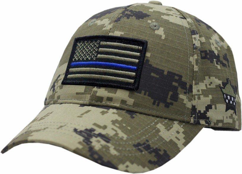 American Flag Blue Line Hat Adjustable Digi Green Camouflage