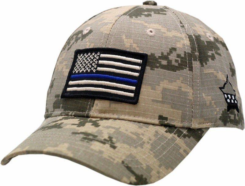 American Flag Blue Line Hat Adjustable Digi Grey Camouflage