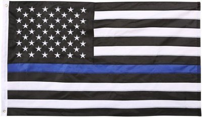 Embroidered American Flag Blue Line 3ft x 5ft Flag