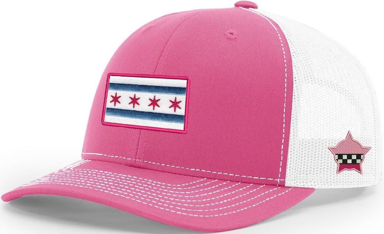 Chicago Flag Snapback Trucker Mesh Pink/White