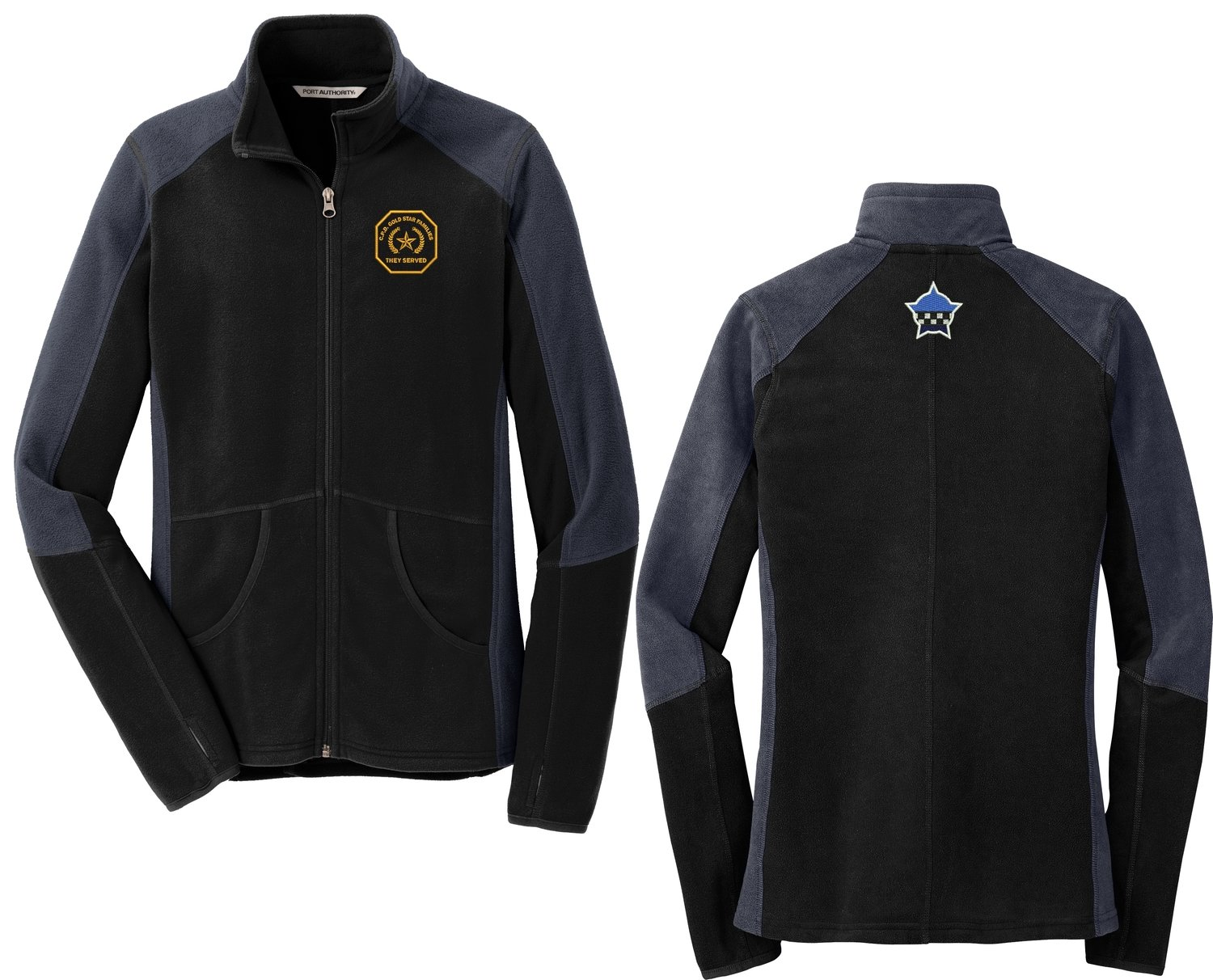 Gold Star Family Colorblock Microfleece Jacket Black/Grey F230