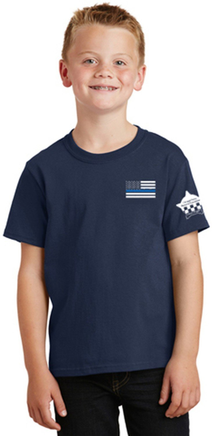 American Flag Blue Line Youth Core Cotton Tee CPD Memorial