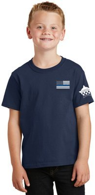 American Flag Blue Line Toddler Core Cotton Tee CPD Memorial