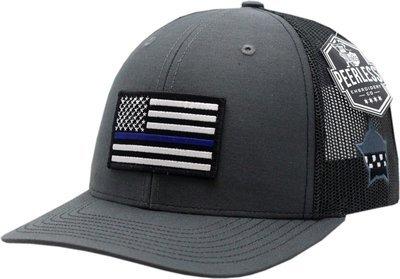 American Flag Blue Line Trucker Mesh Snapback Charcoal/Black