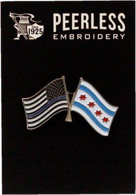Blue Line & Chicago Flag Lapel Pin
