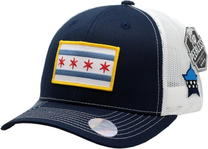 Chicago Flag Snapback Trucker Mesh Navy/White
