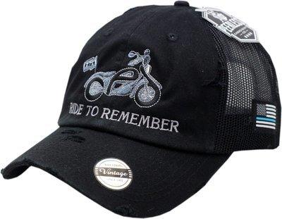 Ride To Remember Snapback Trucker Mesh Vintage Black